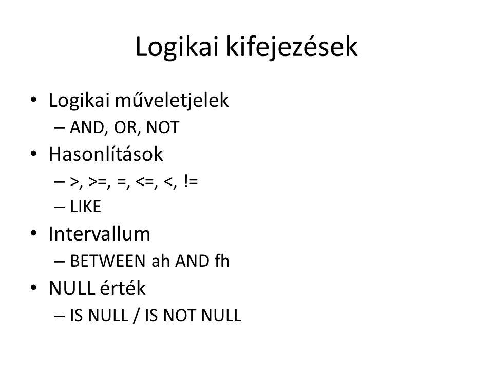Logikai kifejezések Logikai műveletjelek – AND, OR, NOT Hasonlítások – >, >=, =, <=, <, != – LIKE Intervallum – BETWEEN ah AND fh NULL érték – IS NULL / IS NOT NULL