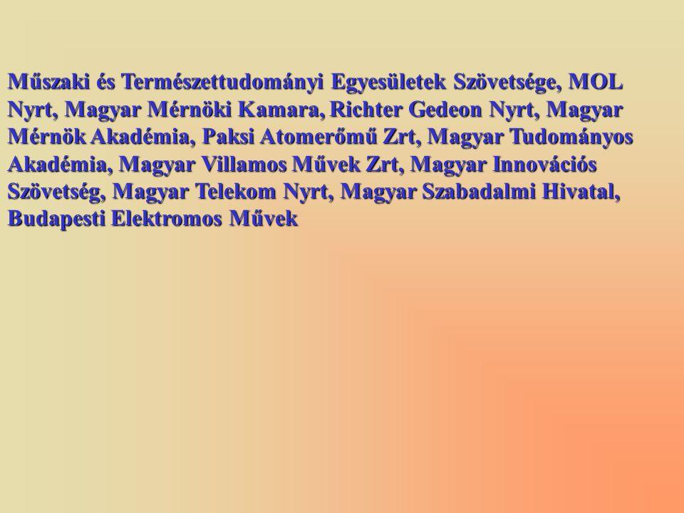 Műszaki és Természettudományi Egyesületek Szövetsége, MOL Nyrt, Magyar Mérnöki Kamara, Richter Gedeon Nyrt, Magyar Mérnök Akadémia, Paksi Atomerőmű Zr