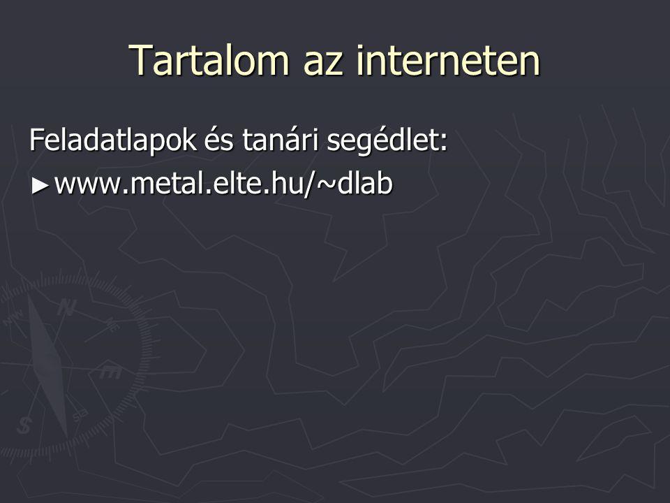Tartalom az interneten Feladatlapok és tanári segédlet: ► www.metal.elte.hu/~dlab