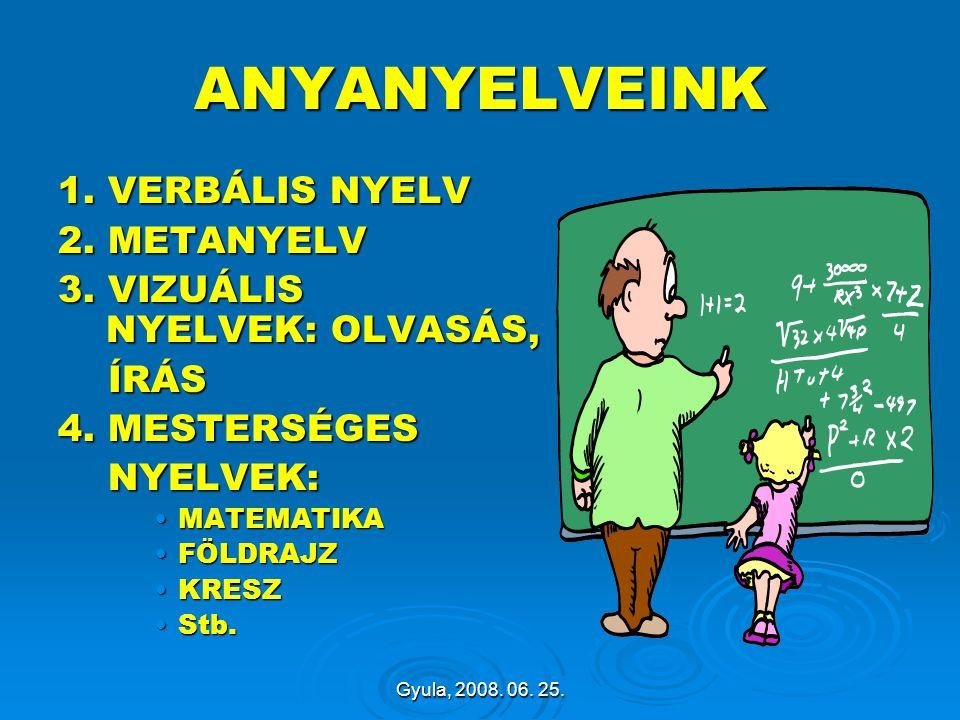 Gyula, 2008. 06. 25. ANYANYELVEINK 1. VERBÁLIS NYELV 2. METANYELV 3. VIZUÁLIS NYELVEK: OLVASÁS, ÍRÁS ÍRÁS 4. MESTERSÉGES NYELVEK: NYELVEK: MATEMATIKAM