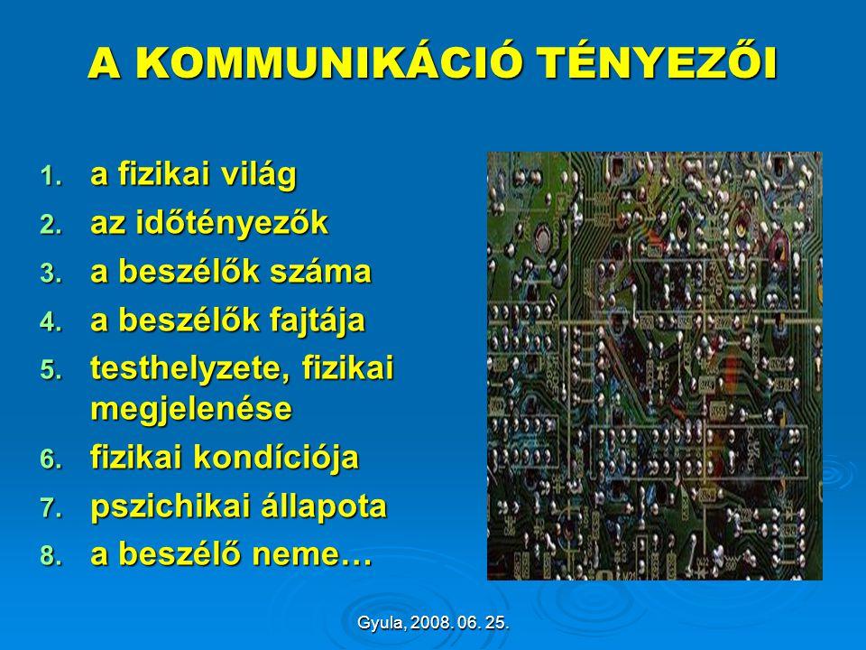 Gyula, 2008. 06. 25. A KOMMUNIKÁCIÓ TÉNYEZŐI 1. a fizikai világ 2. az időtényezők 3. a beszélők száma 4. a beszélők fajtája 5. testhelyzete, fizikai m