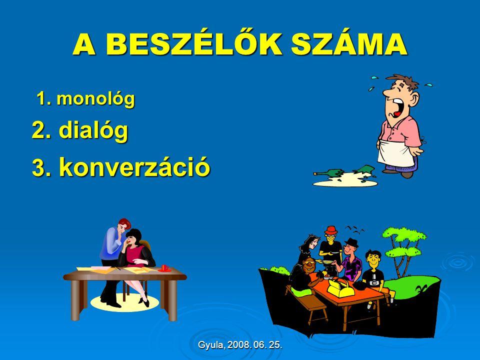 Gyula, 2008. 06. 25. A BESZÉLŐK SZÁMA 1. monológ 1. monológ 2. dialóg 2. dialóg 3. konverzáció 3. konverzáció