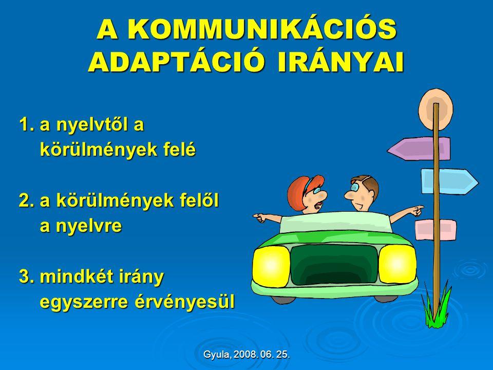 Gyula, 2008. 06. 25. A KOMMUNIKÁCIÓS ADAPTÁCIÓ IRÁNYAI 1. a nyelvtől a körülmények felé körülmények felé 2. a körülmények felől a nyelvre a nyelvre 3.
