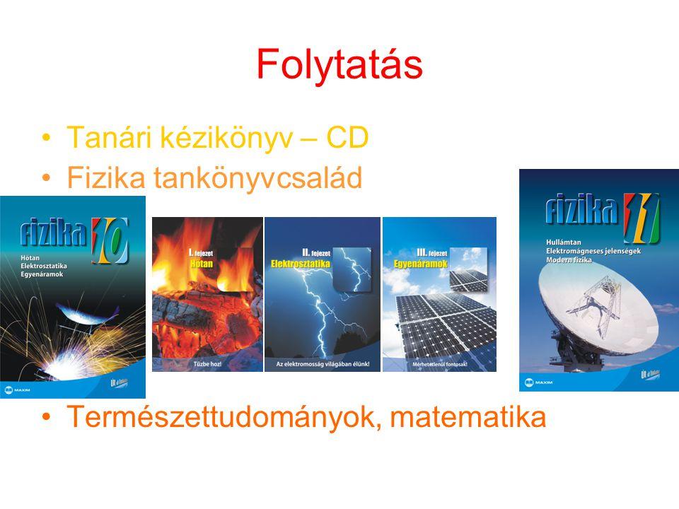 Folytatás Tanári kézikönyv – CD Fizika tankönyvcsalád Természettudományok, matematika