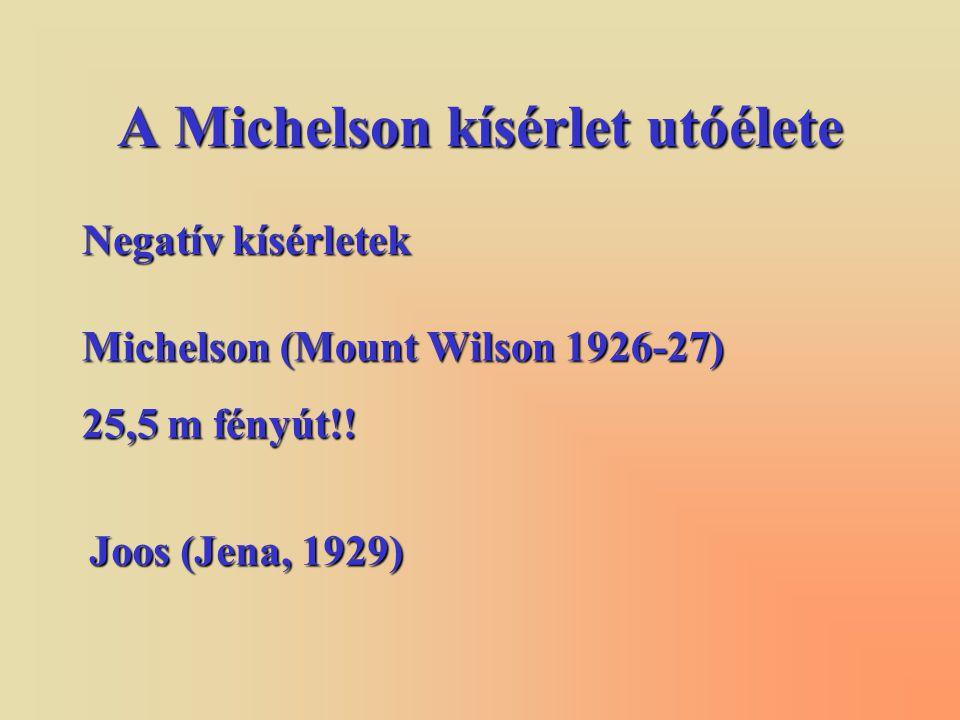 A Michelson kísérlet utóélete Negatív kísérletek Michelson (Mount Wilson 1926-27) 25,5 m fényút!.