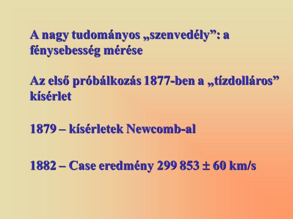 """A nagy tudományos """"szenvedély : a fénysebesség mérése Az első próbálkozás 1877-ben a """"tízdolláros kísérlet 1879 – kísérletek Newcomb-al 1882 – Case eredmény 299 853  60 km/s"""