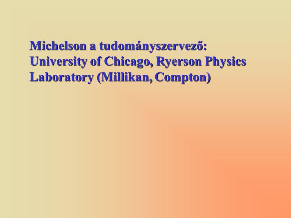 Michelson a tudományszervező: University of Chicago, Ryerson Physics Laboratory (Millikan, Compton)