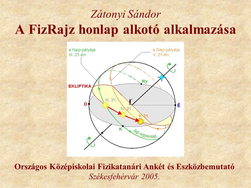 Zátonyi Sándor A FizRajz honlap alkotó alkalmazása Országos Középiskolai Fizikatanári Ankét és Eszközbemutató Székesfehérvár 2005.