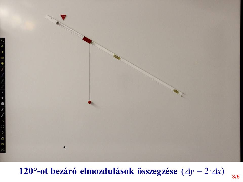 120°-ot bezáró elmozdulások összegzése (  y = 2·  x) 3/5