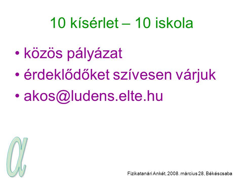 Fizikatanári Ankét, 2008. március 28, Békéscsaba 10 kísérlet – 10 iskola közös pályázat érdeklődőket szívesen várjuk akos@ludens.elte.hu