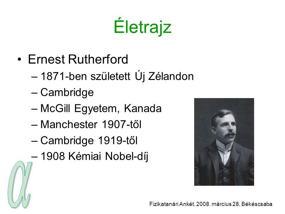 Fizikatanári Ankét, 2008. március 28, Békéscsaba Életrajz Ernest Rutherford –1871-ben született Új Zélandon –Cambridge –McGill Egyetem, Kanada –Manche