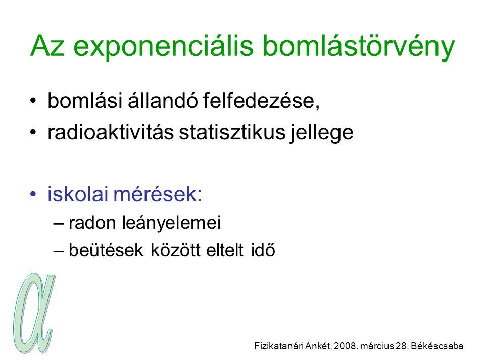 Fizikatanári Ankét, 2008. március 28, Békéscsaba Az exponenciális bomlástörvény bomlási állandó felfedezése, radioaktivitás statisztikus jellege iskol
