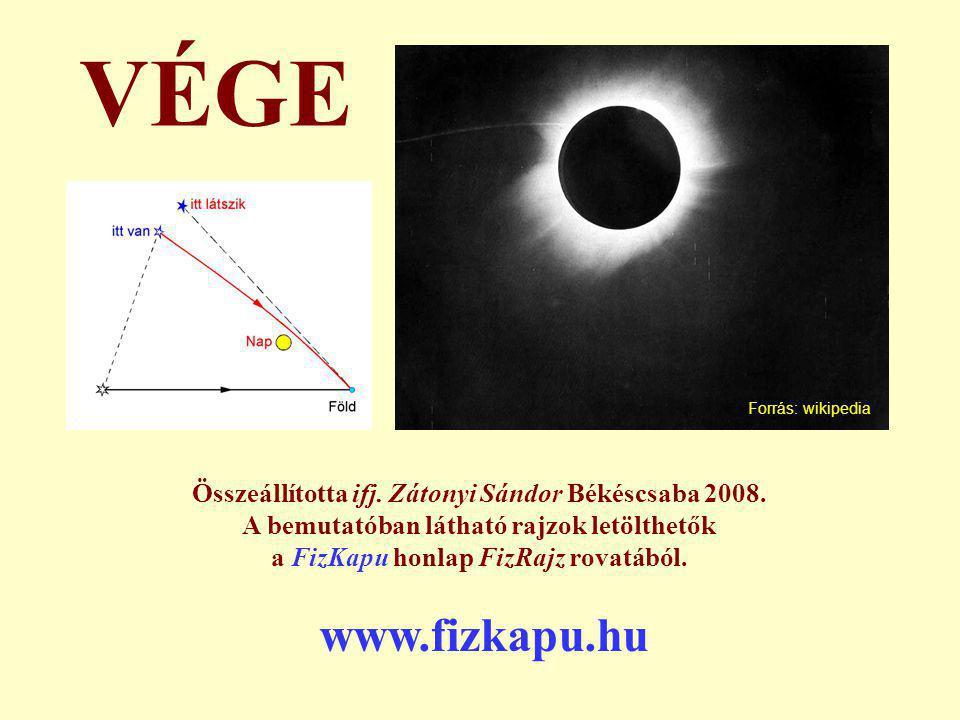 Összeállította ifj. Zátonyi Sándor Békéscsaba 2008. A bemutatóban látható rajzok letölthetők a FizKapu honlap FizRajz rovatából. VÉGE www.fizkapu.hu F