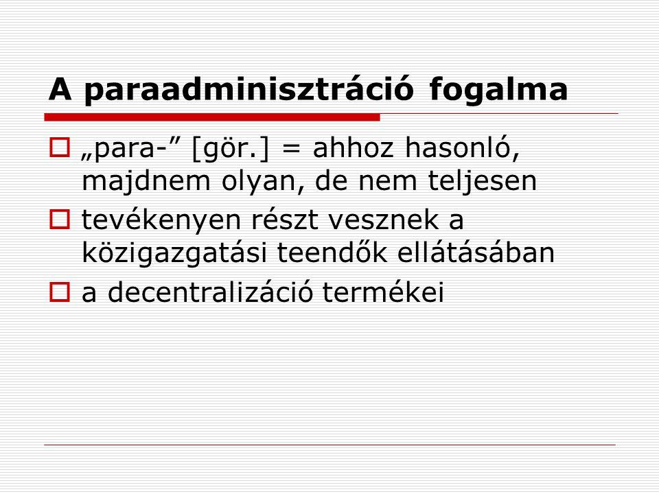"""A paraadminisztráció fogalma  """"para-"""" [gör.] = ahhoz hasonló, majdnem olyan, de nem teljesen  tevékenyen részt vesznek a közigazgatási teendők ellát"""