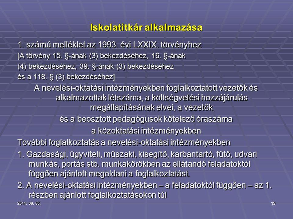 2014. 08. 05.2014. 08. 05.2014. 08. 05.19 Iskolatitkár alkalmazása 1. számú melléklet az 1993. évi LXXIX. törvényhez [A törvény 15. §-ának (3) bekezdé
