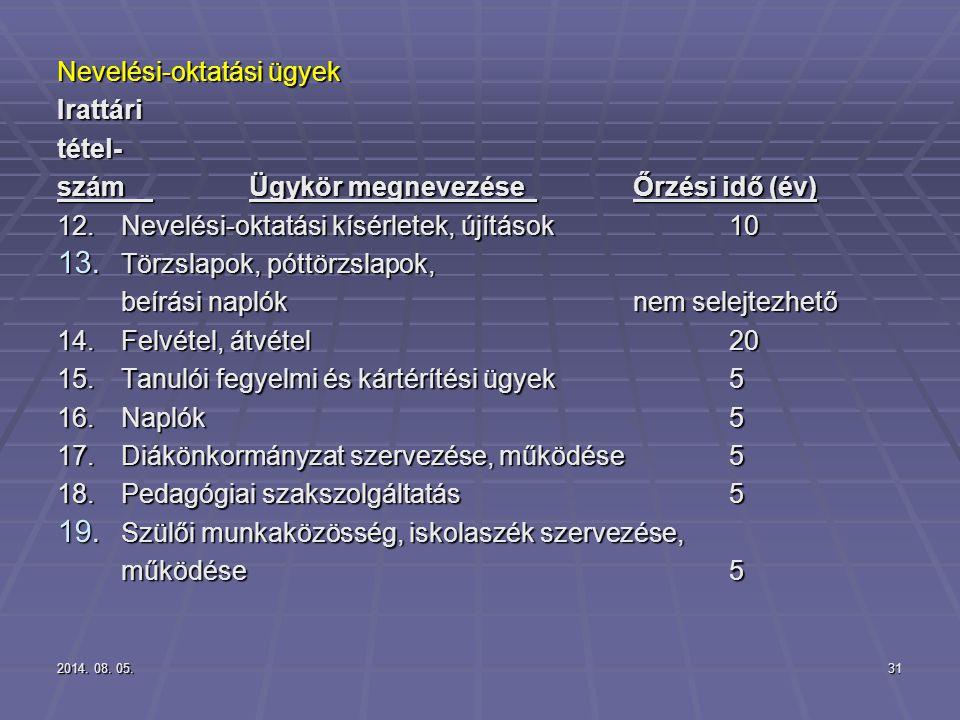 2014. 08. 05.2014. 08. 05.2014. 08. 05.31 Nevelési-oktatási ügyek Irattáritétel- számÜgykör megnevezéseŐrzési idő (év) 12.Nevelési-oktatási kísérletek