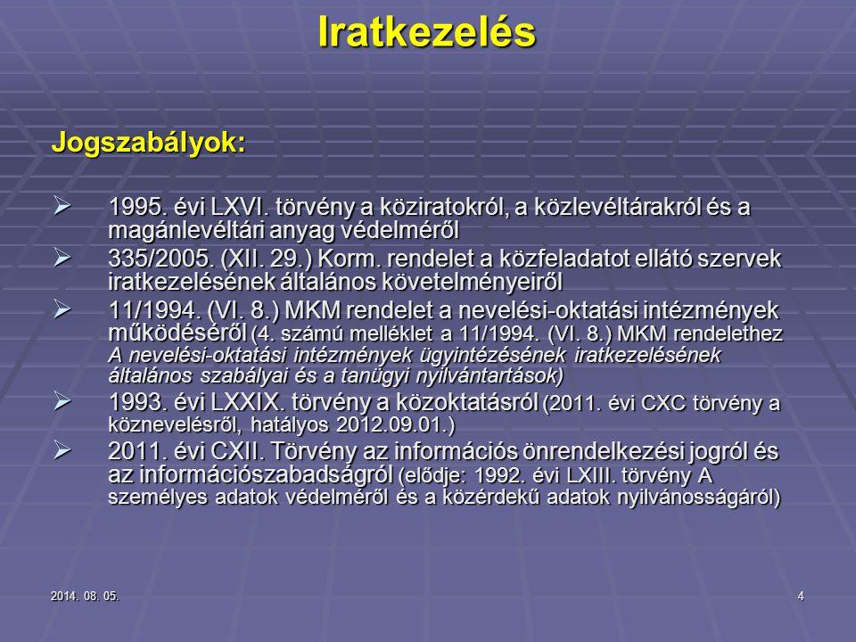 2014. 08. 05.2014. 08. 05.2014. 08. 05.4 Iratkezelés Jogszabályok:  1995. évi LXVI. törvény a köziratokról, a közlevéltárakról és a magánlevéltári an
