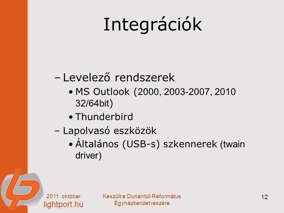 2011. október lightport.hu Készült a Dunántúli Református Egyházkerület részére 12 Integrációk –Levelező rendszerek MS Outlook ( 2000, 2003-2007, 2010