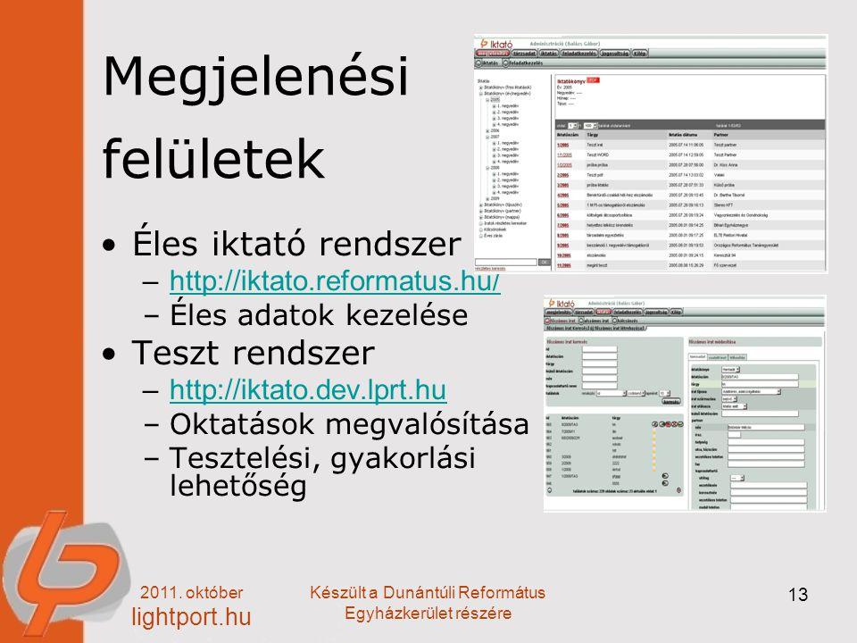 2011. október lightport.hu Készült a Dunántúli Református Egyházkerület részére 13 Megjelenési felületek Éles iktató rendszer –http://iktato.reformatu
