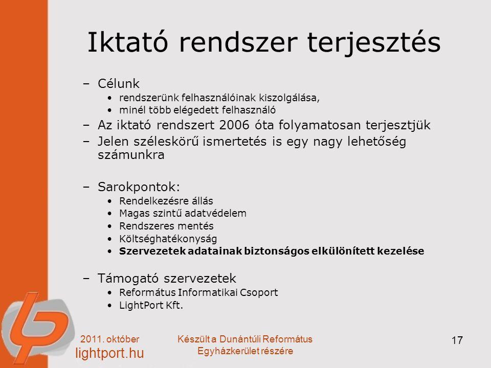 2011. október lightport.hu Készült a Dunántúli Református Egyházkerület részére 17 Iktató rendszer terjesztés –Célunk rendszerünk felhasználóinak kisz