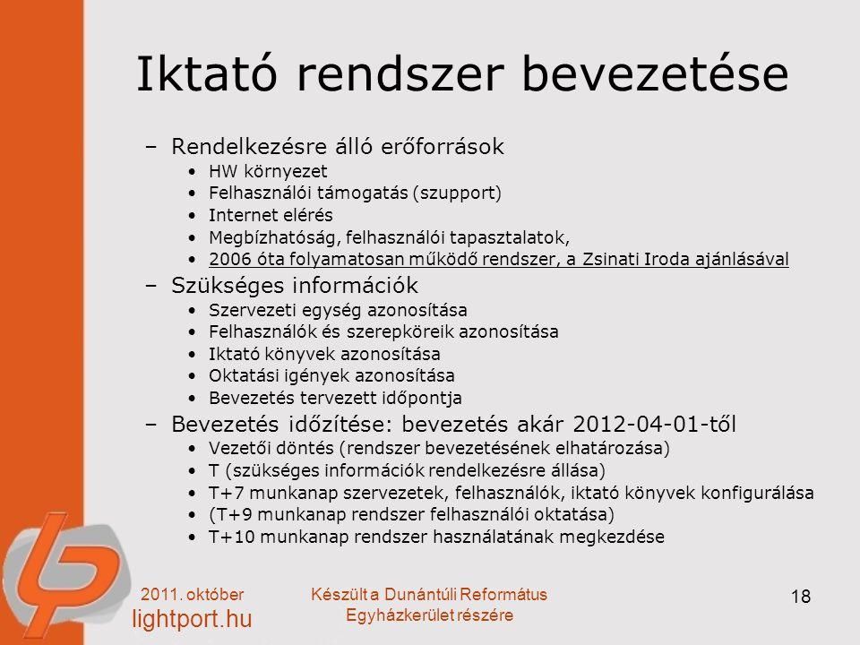 2011. október lightport.hu Készült a Dunántúli Református Egyházkerület részére 18 Iktató rendszer bevezetése –Rendelkezésre álló erőforrások HW körny