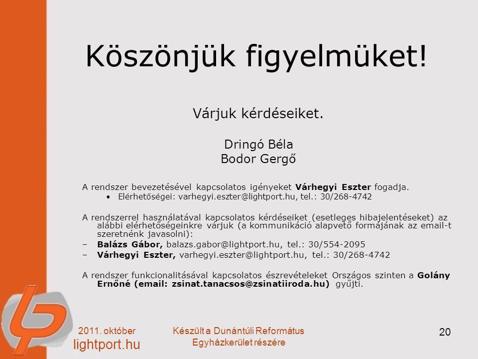 2011. október lightport.hu Készült a Dunántúli Református Egyházkerület részére 20 Köszönjük figyelmüket! Várjuk kérdéseiket. Dringó Béla Bodor Gergő