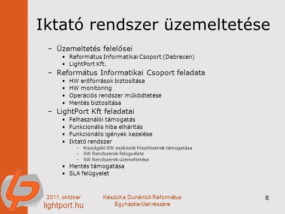 2011. október lightport.hu Készült a Dunántúli Református Egyházkerület részére 6 Iktató rendszer üzemeltetése –Üzemeltetés felelősei Református Infor