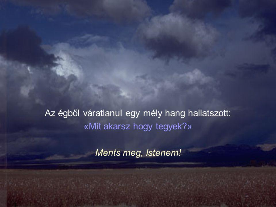 Az égből váratlanul egy mély hang hallatszott: «Mit akarsz hogy tegyek?» Ments meg, Istenem!