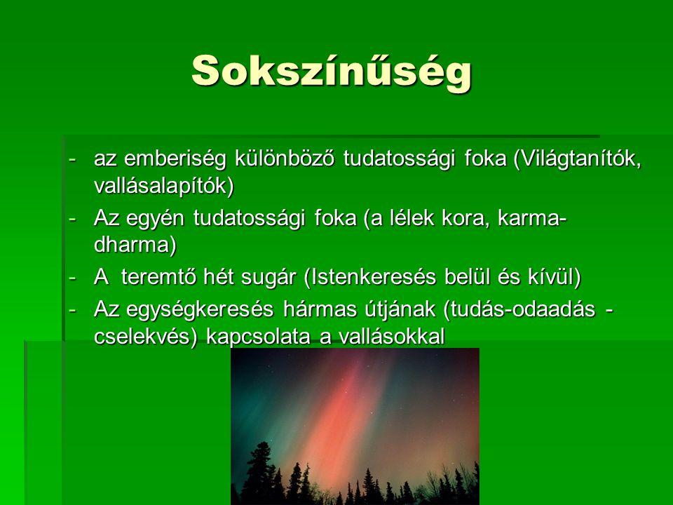 Sokszínűség Sokszínűség -az emberiség különböző tudatossági foka (Világtanítók, vallásalapítók) -Az egyén tudatossági foka (a lélek kora, karma- dharm