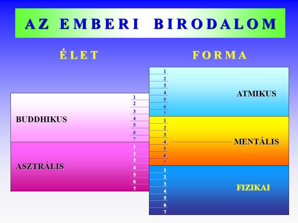 A Z E M B E R I B I R O D A L O M É L E T F O R M A ATMIKUS MENTÁLIS FIZIKAI BUDDHIKUS ASZTRÁLIS 2 3 4 5 6 7 1 2 3 4 5 6 7 4 1 2 3 5 6 7 2 1 3 4 5 6 7