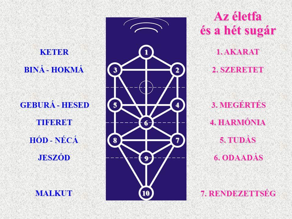 Az életfa és a hét sugár 1. AKARAT BINÁ - HOKMÁ 2. SZERETET GEBURÁ - HESED 3. MEGÉRTÉS TIFERET 5. TUDÁS HÓD - NÉCÁ JESZÓD MALKUT 1 23 54 6 87 9 10 KET