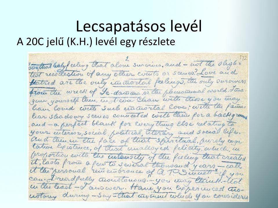 Lecsapatásos levél A 20C jelű (K.H.) levél egy részlete