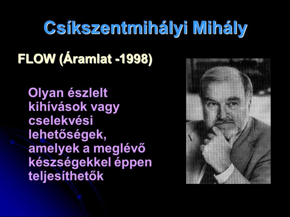 Csíkszentmihályi Mihály FLOW (Áramlat -1998) Olyan észlelt kihívások vagy cselekvési lehetőségek, amelyek a meglévő készségekkel éppen teljesíthetők