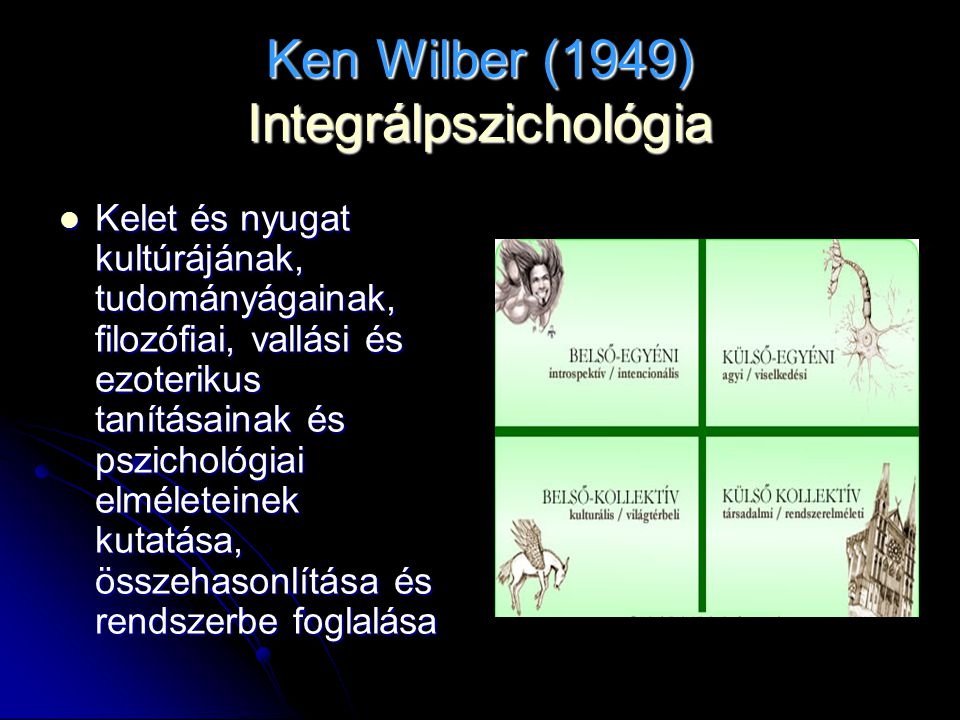 Ken Wilber (1949) Integrálpszichológia Kelet és nyugat kultúrájának, tudományágainak, filozófiai, vallási és ezoterikus tanításainak és pszichológiai