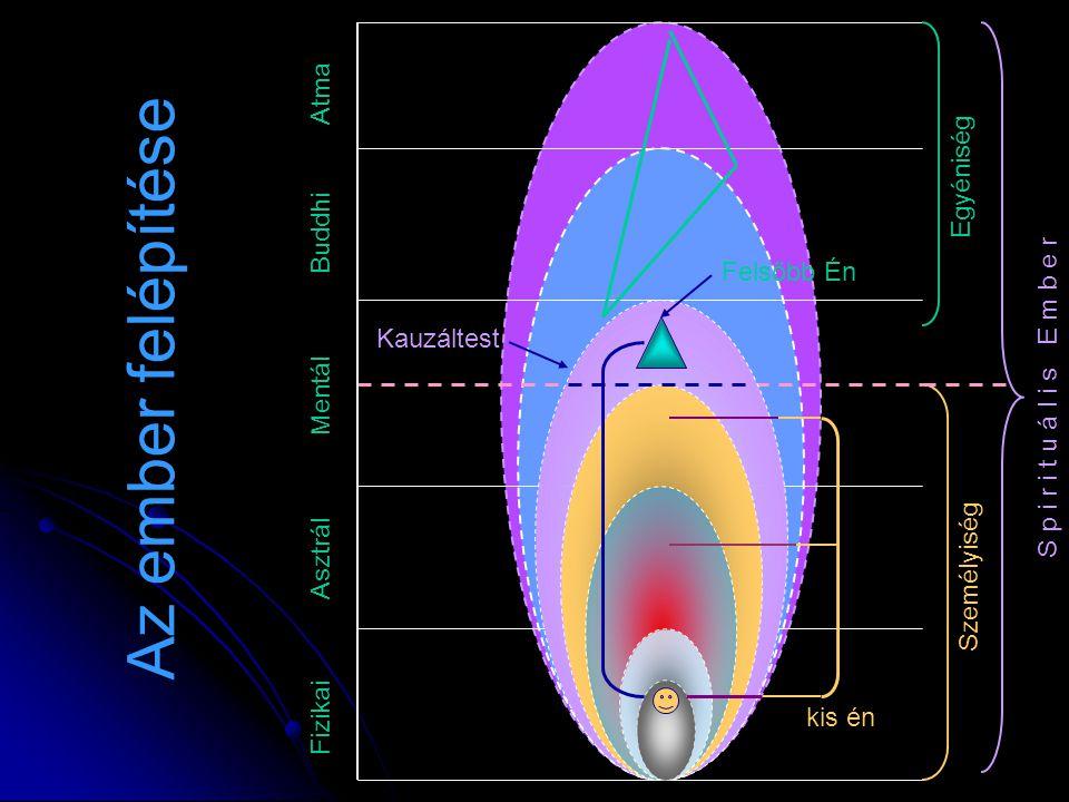 Fizikai Asztrál Mentál Buddhi Atma Felsőbb Én Kauzáltest S p i r i t u á l i s E m b e r Az ember felépítése kis én Személyiség Egyéniség