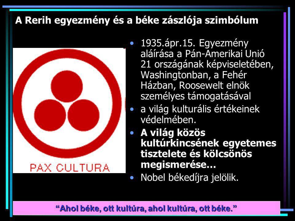 A Rerih egyezmény és a béke zászlója szimbólum 1935.ápr.15.