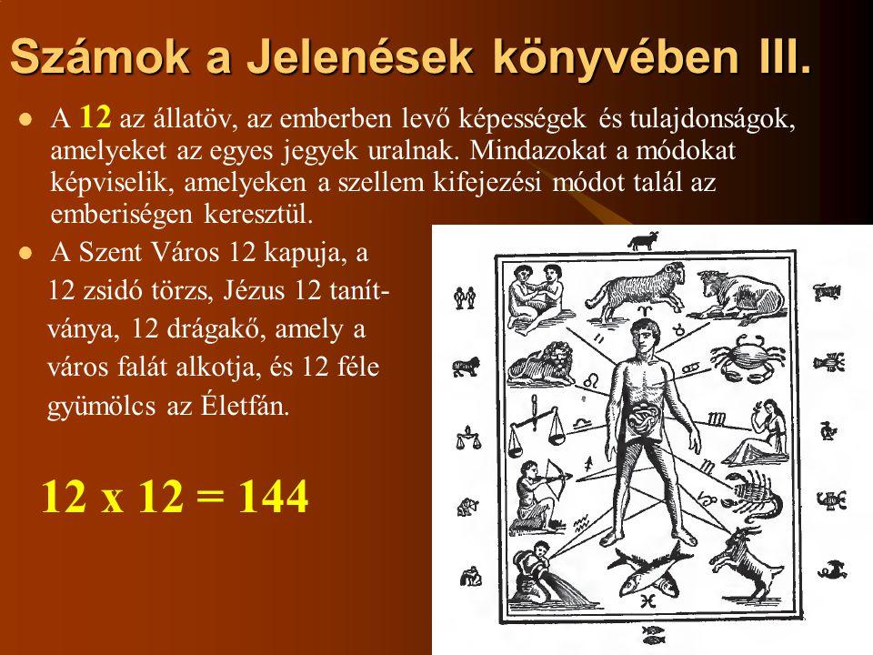 Számok a Jelenések könyvében III. A 12 az állatöv, az emberben levő képességek és tulajdonságok, amelyeket az egyes jegyek uralnak. Mindazokat a módok
