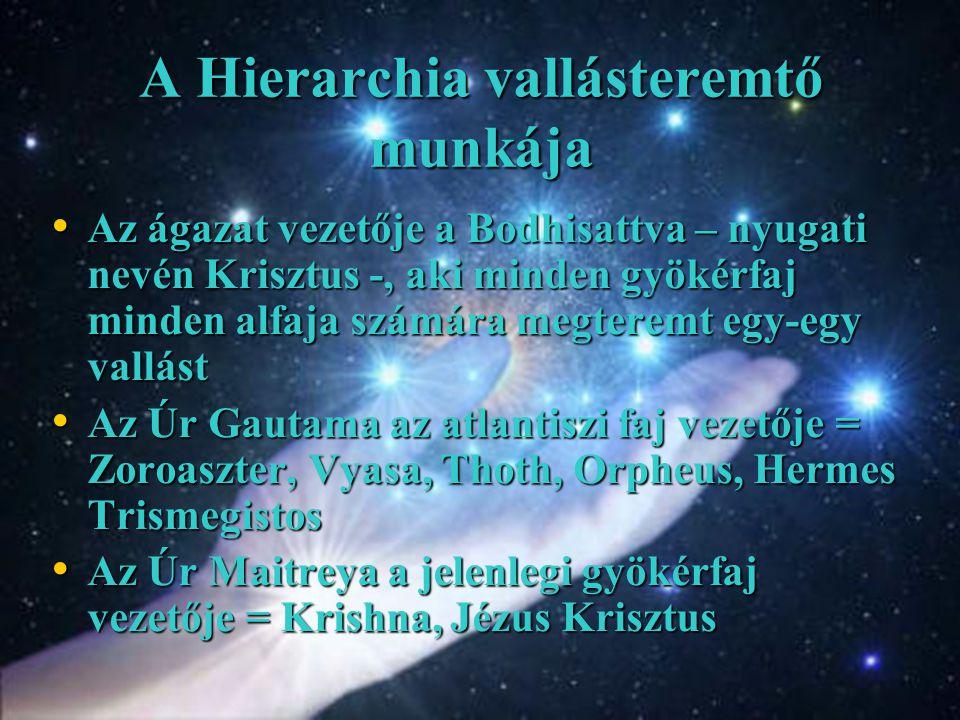 A Hierarchia vallásteremtő munkája Az ágazat vezetője a Bodhisattva – nyugati nevén Krisztus -, aki minden gyökérfaj minden alfaja számára megteremt egy-egy vallást Az ágazat vezetője a Bodhisattva – nyugati nevén Krisztus -, aki minden gyökérfaj minden alfaja számára megteremt egy-egy vallást Az Úr Gautama az atlantiszi faj vezetője = Zoroaszter, Vyasa, Thoth, Orpheus, Hermes Trismegistos Az Úr Gautama az atlantiszi faj vezetője = Zoroaszter, Vyasa, Thoth, Orpheus, Hermes Trismegistos Az Úr Maitreya a jelenlegi gyökérfaj vezetője = Krishna, Jézus Krisztus Az Úr Maitreya a jelenlegi gyökérfaj vezetője = Krishna, Jézus Krisztus