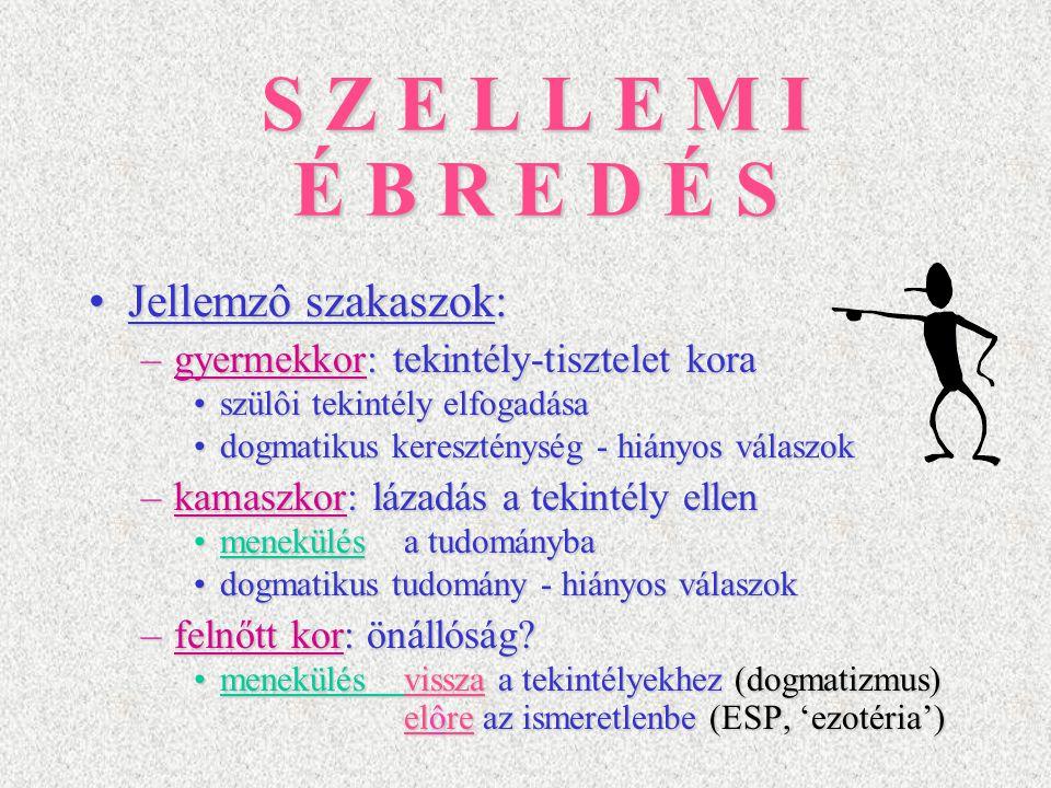 S Z E L L E M I É B R E D É S Jellemzô szakaszok:Jellemzô szakaszok: –gyermekkor: tekintély-tisztelet kora szülôi tekintély elfogadásaszülôi tekintély