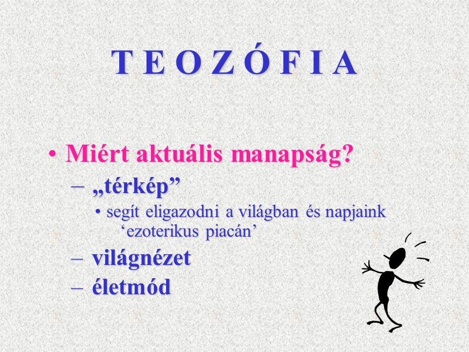 """T E O Z Ó F I A Miért aktuális manapság?Miért aktuális manapság? – """"térkép"""" segít eligazodni a világban és napjaink 'ezoterikus piacán'segít eligazodn"""