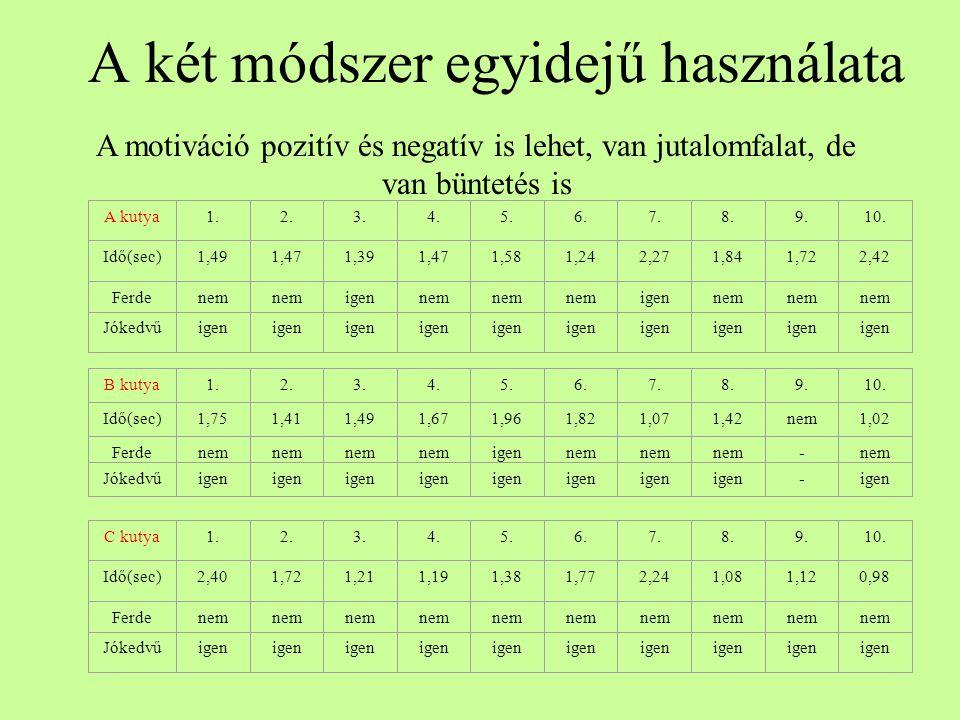 A két módszer egyidejű használata A motiváció pozitív és negatív is lehet, van jutalomfalat, de van büntetés is A kutya1.2.3.4.5.6.7.8.9.10. Idő(sec)1