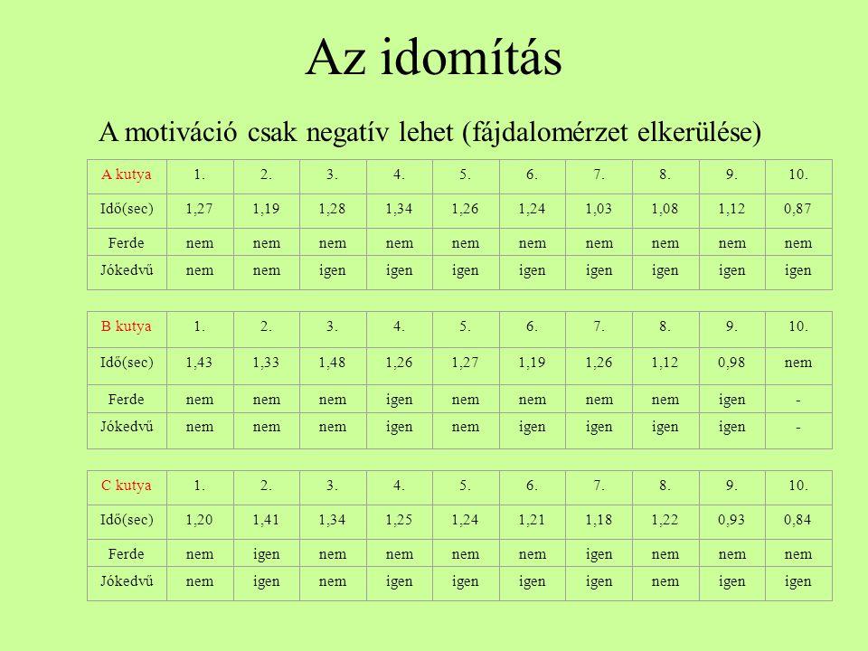 Az idomítás A motiváció csak negatív lehet (fájdalomérzet elkerülése) A kutya1.2.3.4.5.6.7.8.9.10. Idő(sec)1,271,191,281,341,261,241,031,081,120,87 Fe