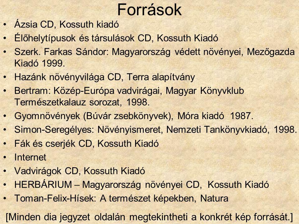 Források Ázsia CD, Kossuth kiadó Élőhelytípusok és társulások CD, Kossuth Kiadó Szerk. Farkas Sándor: Magyarország védett növényei, Mezőgazda Kiadó 19