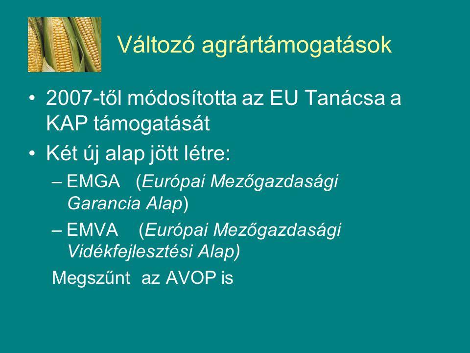 Változó agrártámogatások 2007-től módosította az EU Tanácsa a KAP támogatását Két új alap jött létre: –EMGA (Európai Mezőgazdasági Garancia Alap) –EMVA (Európai Mezőgazdasági Vidékfejlesztési Alap) Megszűnt az AVOP is