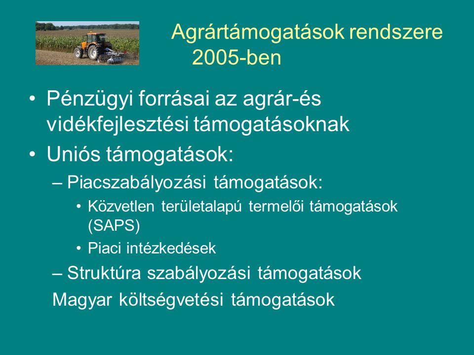 Agrártámogatások rendszere 2005-ben Pénzügyi forrásai az agrár-és vidékfejlesztési támogatásoknak Uniós támogatások: –Piacszabályozási támogatások: Közvetlen területalapú termelői támogatások (SAPS) Piaci intézkedések –Struktúra szabályozási támogatások Magyar költségvetési támogatások