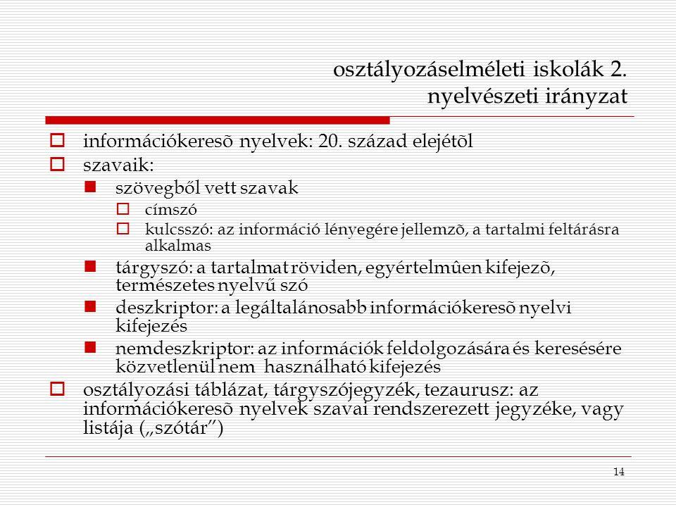 14 osztályozáselméleti iskolák 2. nyelvészeti irányzat  információkeresõ nyelvek: 20. század elejétõl  szavaik: szövegből vett szavak  címszó  kul