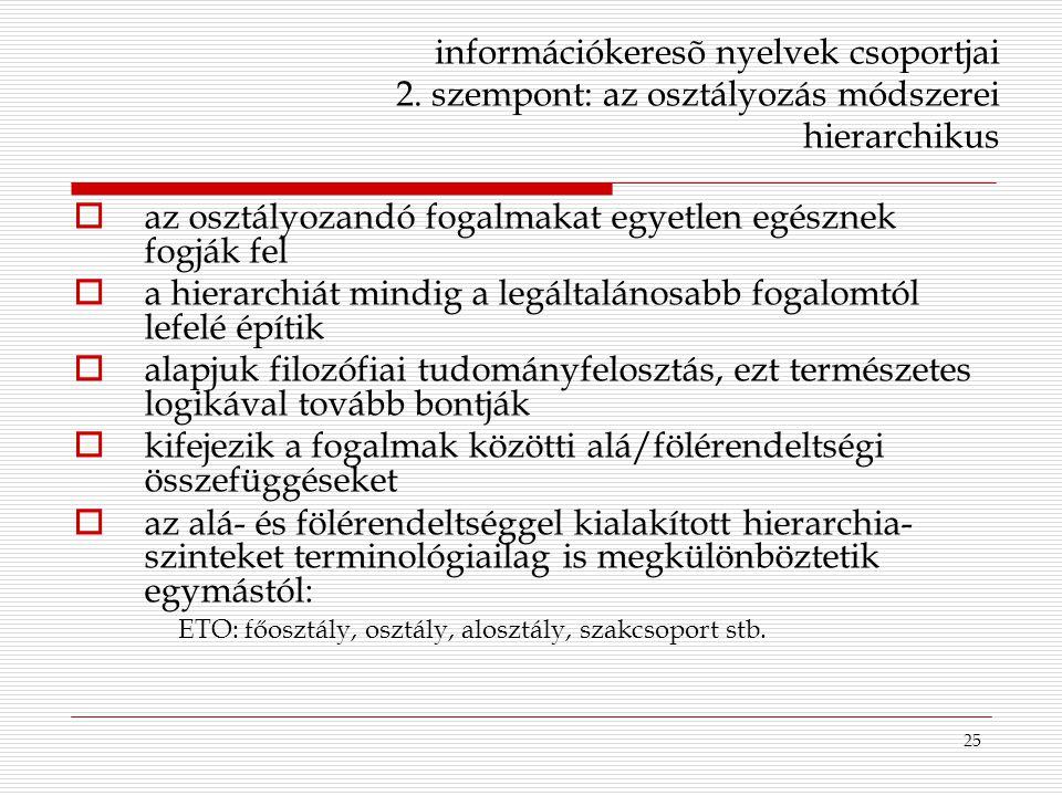25 információkeresõ nyelvek csoportjai 2. szempont: az osztályozás módszerei hierarchikus  az osztályozandó fogalmakat egyetlen egésznek fogják fel 