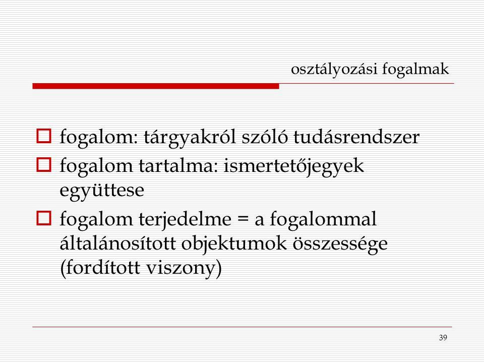 39 osztályozási fogalmak  fogalom: tárgyakról szóló tudásrendszer  fogalom tartalma: ismertetőjegyek együttese  fogalom terjedelme = a fogalommal á
