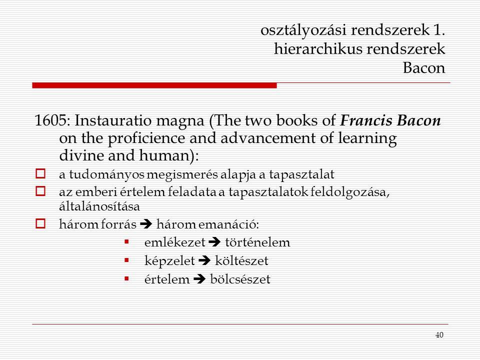 40 osztályozási rendszerek 1. hierarchikus rendszerek Bacon 1605: Instauratio magna (The two books of Francis Bacon on the proficience and advancement