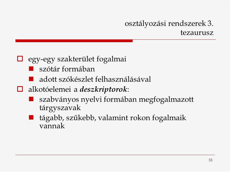 55 osztályozási rendszerek 3. tezaurusz  egy-egy szakterület fogalmai szótár formában adott szókészlet felhasználásával  alkotóelemei a deszkriptoro